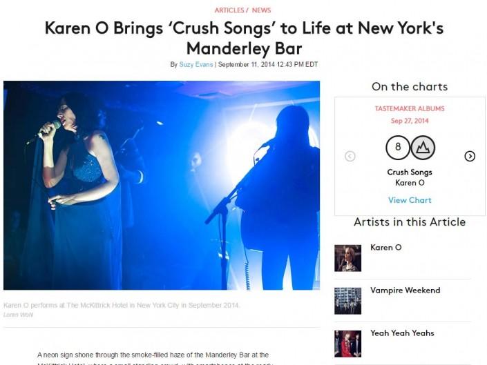 Karen O for Billboard