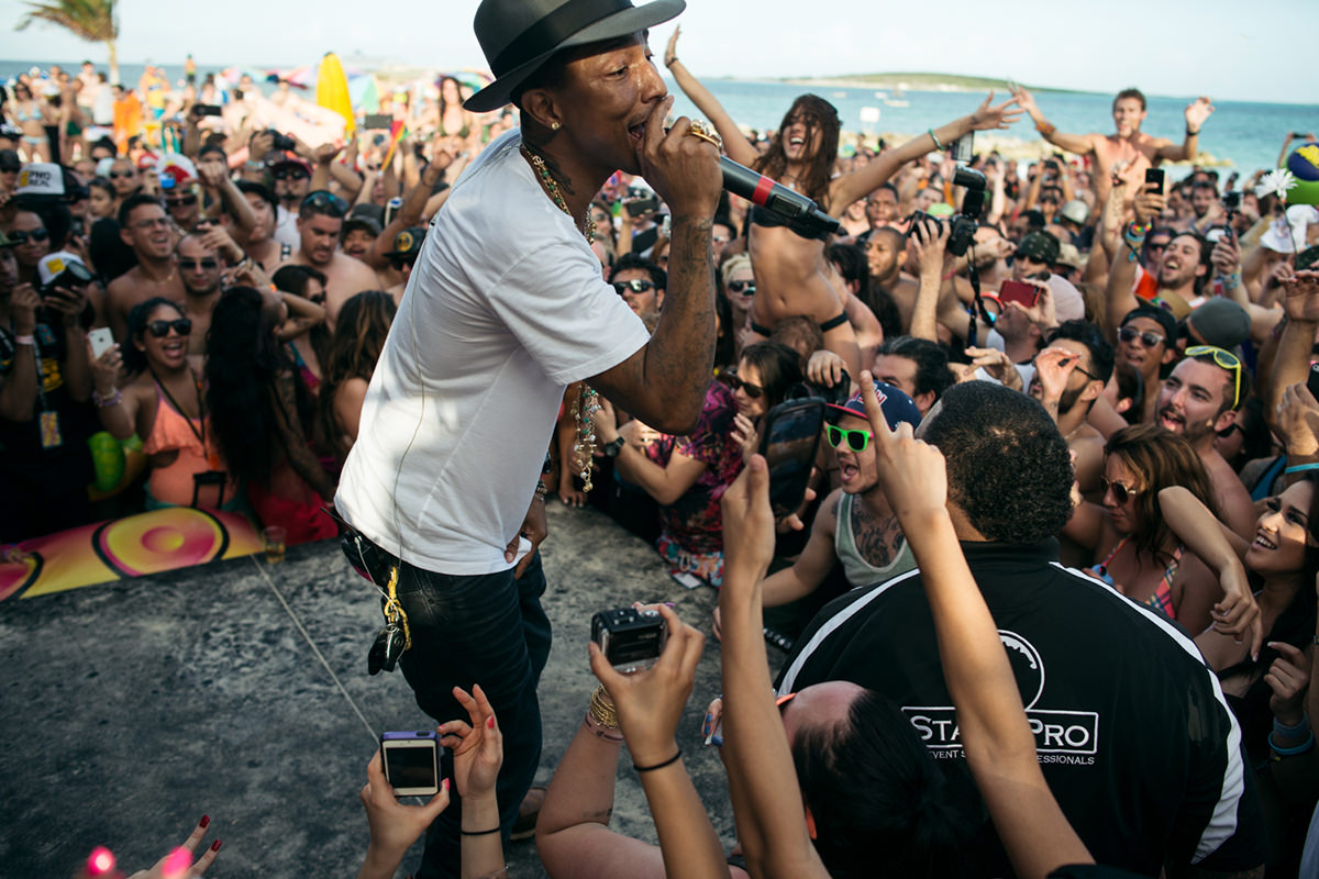 New York City based photographer specializing in live music and portrait photography. Pharrell Williams performing in the Bahamas, as part of Holy Ship on Janurary 11th, 2014. Photograph by Loren Wohl.