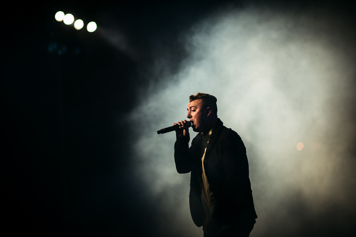 New York City based photographer specializing in live music and portrait photography. Sam Smith performing with Disclosure (not pictured) at Central Park's Summerstage on August 6th, 2013. Photograph by Loren Wohl.
